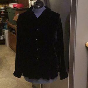 Black velvet button shirt